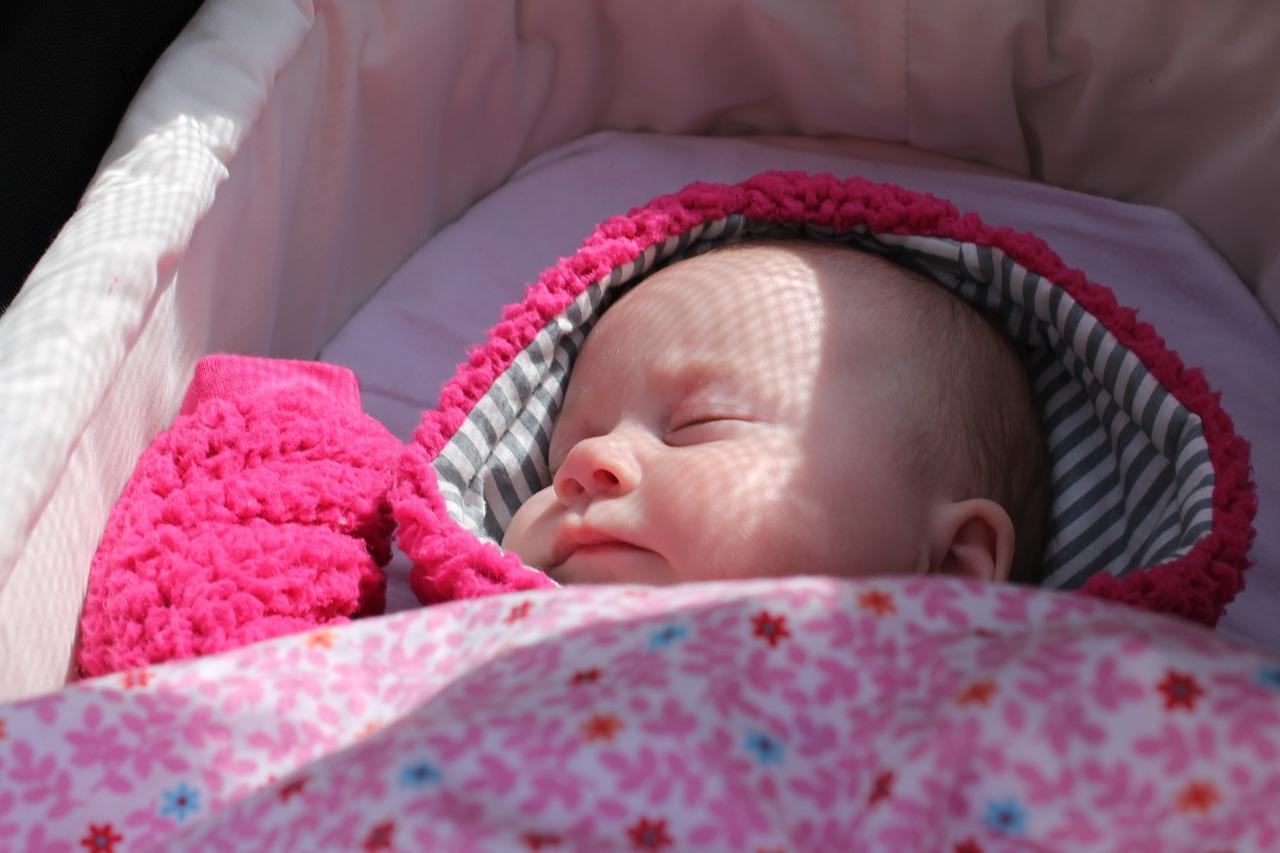 baby inside a baby pram