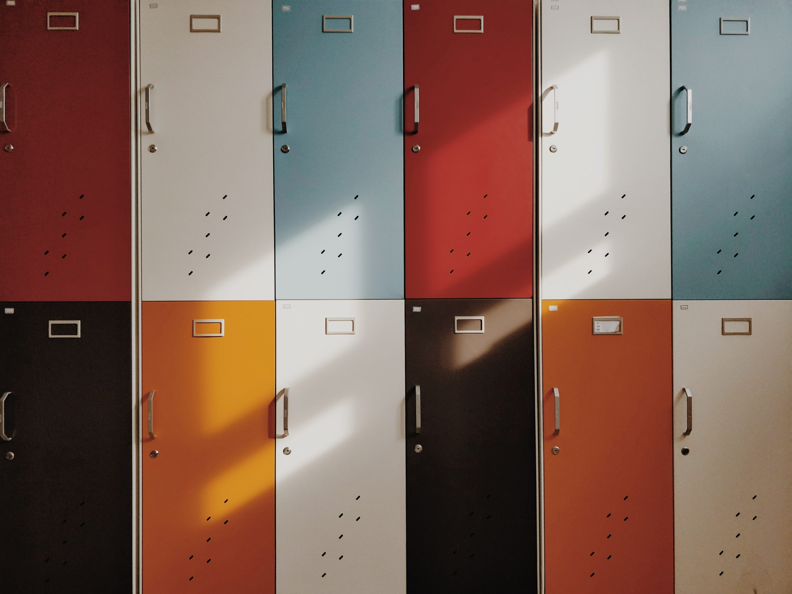 school lockers with colored doors